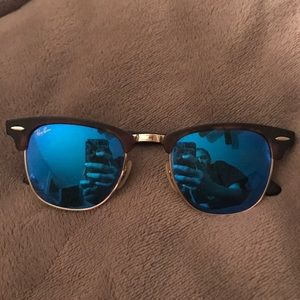 Rayban Clubmasters (Blue Flash w Matte Tortoise)